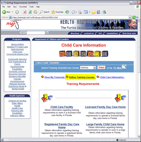 Child Care Information Web Page